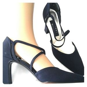 Stuart Weitzman Navy Fabric Heel Sz 8